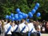 25 мая 2017 года, последний звонок, выпускники выпускают шары в небо